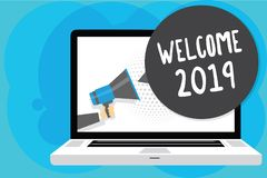 Text sign showing Welcome 2019. Conceptual photo New Year Celebration Motivation to Start Cheers Congratulations Man holding Megap. Hone loudspeaker computer stock illustration