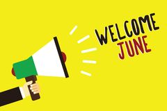 Text sign showing Welcome June. Conceptual photo Calendar Sixth Month Second Quarter Thirty days Greetings Man holding megaphone l. Oudspeaker yellow background stock illustration
