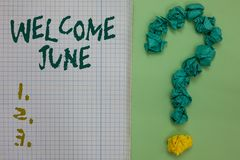 Text sign showing Welcome June. Conceptual photo Calendar Sixth Month Second Quarter Thirty days Greetings Notebook paper crumpled. Papers forming question mark royalty free illustration