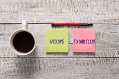 Text sign showing Welcome To Our Team. Conceptual photo introducing another demonstrating to your team mates Stationary. Text sign showing Welcome To Our Team royalty free stock image
