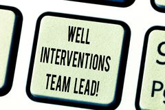 Text sign showing Well Interventions Team Lead. Conceptual photo Oil and gas petroleum industry engineering Keyboard key. Intention to create computer message royalty free stock photos