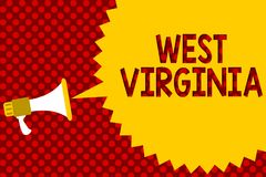 Text sign showing West Virginia. Conceptual photo United States of America State Travel Tourism Trip Historical Megaphone loudspea. Ker yellow speech bubble Stock Image