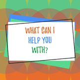Text sign showing What Can I Help You Withquestion. Conceptual photo Offering support assistance guidance Pile of Blank. Rectangular Outlined Different Color royalty free illustration