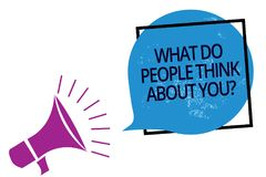 Text sign showing What Do People Think About You question. Conceptual photo Opinion of others Considerations Megaphone loudspeaker