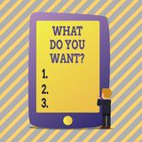 Text sign showing What Do You Wantquestion. Conceptual photo Aspiration Contemplation Need Contemplate Aspire. Text sign showing What Do You Wantquestion stock illustration