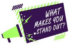 Text sign showing What Makes You Stand Out question. Conceptual photo asking someone about his qualities Megaphone loudspeaker gre. En striped frame important Royalty Free Stock Photography