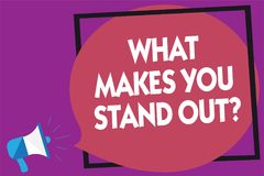 Text sign showing What Makes You Stand Out question. Conceptual photo asking someone about his qualities Megaphone loudspeaker lou. D screaming purple background Royalty Free Stock Photography