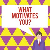 Text sign showing What Motivates Youquestion. Conceptual photo Passion Drive Incentive Dream Aspiration. Text sign showing What Motivates Youquestion. Business royalty free illustration