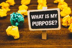 Text sign showing What Is My Purpose Question. Conceptual photo Direction Importance Discernment Reflection Blackboard with letter. S wooden floor blurry yellow royalty free stock images