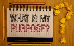 Text sign showing What Is My Purpose Question. Conceptual photo Direction Importance Discernment Reflection Notepad with outline t. Ext pen pencil woody desk royalty free stock photos