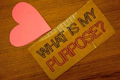 Text sign showing What Is My Purpose Question. Conceptual photo Direction Importance Discernment Reflection Peru color torn page w. Ith engraved black red text stock images