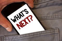 Text sign showing What Is Next Question. Conceptual photos Following steps Guidance to continue moving or working. Text sign showing What Is Next Question Royalty Free Stock Images