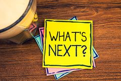 Text sign showing What Is Next Question. Conceptual photos Following steps Guidance to continue moving or working. Text sign showing What Is Next Question Royalty Free Stock Image