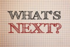 Text sign showing What Is Next Question. Conceptual photos Following steps Guidance to continue moving or working. Text sign showing What Is Next Question Stock Photography