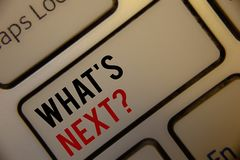 Text sign showing What Is Next Question. Conceptual photos Following steps Guidance to continue moving or working. Text sign showing What Is Next Question Stock Images