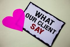 Text sign showing What Our Client Say. Conceptual photo Customers Feedback or opinion about product service Hart love pink white b. Ackground love lovely Stock Images