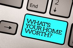 Free Text Sign Showing What S Is Your Home Worth Question. Conceptual Photo Value Of A House Property Cost Price Rate Silver Grey Compu Royalty Free Stock Images - 121993069