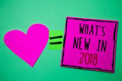 Text sign showing What'S New In 2018. Conceptual photo Year resolution Goals Career achievements Technology Hart memories love pi. Nk green background love stock photos