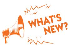 Text sign showing What s is New question. Conceptual photo Asking about latest Updates Trends Happening News Orange megaphone loud. Speaker important message royalty free illustration