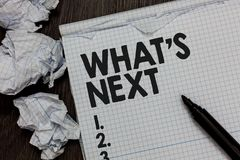 Text sign showing What s is Next. Conceptual photo Asking whatever comes immediately after the present one Marker over notebook cr stock image
