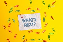 Text sign showing What S Next Question. Conceptual photo asking demonstrating about his coming action or behavior Blank. Text sign showing What S Next Question stock photo
