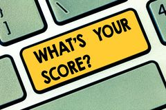 Text sign showing What S Is Your Scorequestion. Conceptual photo asking about the real facts of a situation Keyboard key. Intention to create computer message royalty free stock image