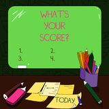 Text sign showing What S Is Your Scorequestion. Conceptual photo asking about the real facts of a situation Mounted Blank Color. Blackboard with Chalk and royalty free stock photo