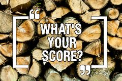 Text sign showing What S Your Scorequestion. Conceptual photo Tell Personal Individual Rating Average Results Wooden background. Vintage wood wild message ideas stock photos