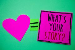 Text sign showing What'S Your Story Question. Conceptual photo asking someone to tell me about himself Hart memories love pink gr. Een background love lovely royalty free stock photos