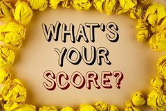 Text sign showing What Is Your Score Question. Conceptual photo Tell Personal Individual Rating Average Results written on plain b Stock Images