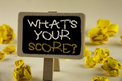Text sign showing What Is Your Score Question. Conceptual photo Tell Personal Individual Rating Average Results written on Wooden Royalty Free Stock Image