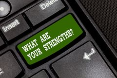 Text sign showing What Are Your Strengthsquestion. Conceptual photo Tell us your best qualities skills Keyboard key. Intention to create computer message royalty free stock photography