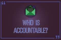 Text sign showing Who Is Accountablequestion. Conceptual photo To be responsible or answerable for something Open. Envelope with Paper New Email Message inside stock illustration