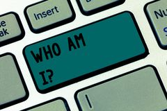 Text sign showing Who Am Iquestion. Conceptual photo Selfconsciousness own demonstratingality identity character. Text sign showing Who Am Iquestion. Business stock images