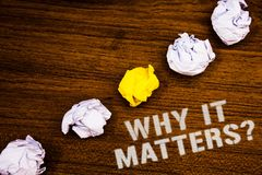 Text sign showing Why It Matters Question. Conceptual photo Important Reasons to do something Motivation Goal Ideas concepts words. On wooden background Royalty Free Stock Photo