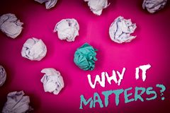 Text sign showing Why It Matters Question. Conceptual photo Important Reasons to do something Motivation Goal Ideas white blue let. Ters pink background crumpled Royalty Free Stock Images
