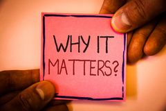Text sign showing Why It Matters Question. Conceptual photo Important Reasons to do something Motivation Goal Man hold holding pin. K paper ideas black red Stock Images
