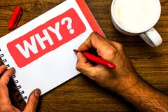 Text sign showing Why Question. Conceptual photo Asking for specific answers of something interrogate inquire Cup marker red pen n. Otepad white paper nice ideas Royalty Free Stock Photos