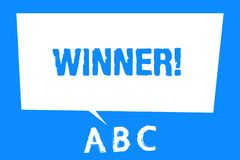 Text sign showing Winner. Conceptual photo Person or thing that wins something Goal reached Achievement royalty free illustration