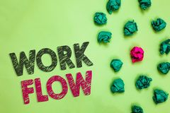 Text sign showing Work Flow. Conceptual photo Continuity of a certain task to and from an office or employer Crumpled wrinkled pap royalty free stock photography