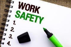 Text sign showing Work Safety. Conceptual photo Caution Security Regulations Protection Assurance Safeness written on Notebook Boo. Text sign showing Work Safety Stock Photos