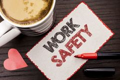 Text sign showing Work Safety. Conceptual photo Caution Security Regulations Protection Assurance Safeness written on Sticky Note. Text sign showing Work Safety Stock Photo