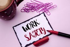Text sign showing Work Safety. Conceptual photo Caution Security Regulations Protection Assurance Safeness written on Sticky Note. Text sign showing Work Safety Royalty Free Stock Images