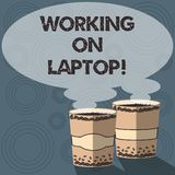 Text sign showing Working On Laptop. Conceptual photo getting job done easily on small portable computer Two To Go Cup royalty free illustration