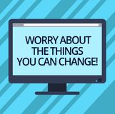Text sign showing Worry About The Things You Can Change. Conceptual photo Be in charge of possible actions Blank. Computer Desktop Monitor Color Screen Mounted vector illustration