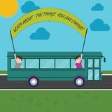 Text sign showing Worry About The Things You Can Change. Conceptual photo Be in charge of possible actions Two Kids. Inside School Bus Holding Out Banner with royalty free illustration