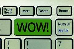 Text sign showing Wow. Conceptual photo Sensational success Impress and excite someone Express admiration.  stock photos