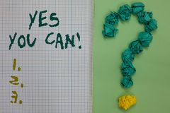 Text sign showing Yes You Can. Conceptual photo Positivity Encouragement Persuade Dare Confidence Uphold Notebook paper crumpled p. Apers forming question mark royalty free stock photos