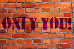 Text sign showing Only You. Conceptual photo The chosen one No other wanted or needed Roanalysistic expression Brick. Text sign showing Only You. Business photo royalty free stock photos