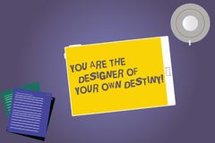 Text sign showing You Are The Designer Of Your Own Destiny. Conceptual photo Embrace life Make changes Tablet Empty Screen Cup. Saucer and Filler Sheets on stock photo